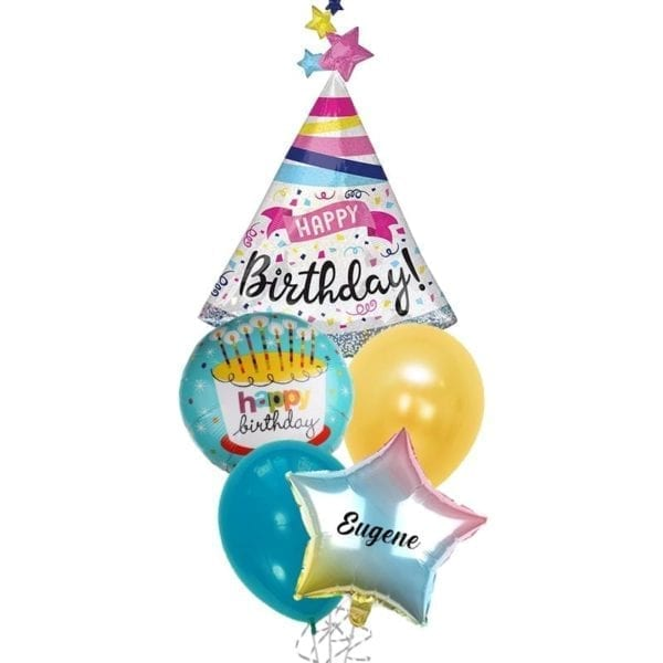 Holographic Party Hats Birthday Balloon Bouquet