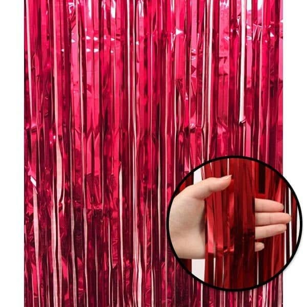 Shiny Backdrop Tassel Red Party Foil Curtain