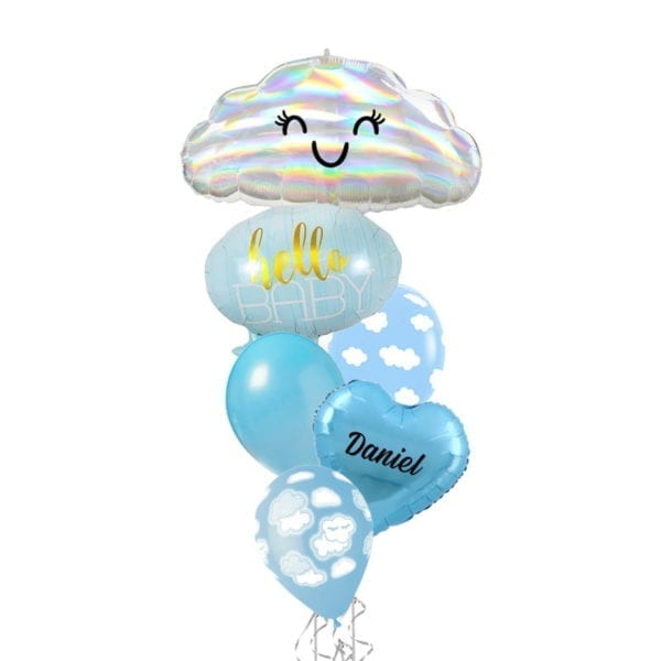 Hello Baby Boy With Iridescent Cloud Balloon Bouquet