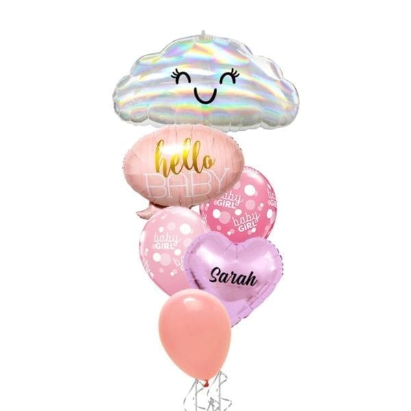 Hello Baby Girl With Iridescent Cloud Balloon Bouquet