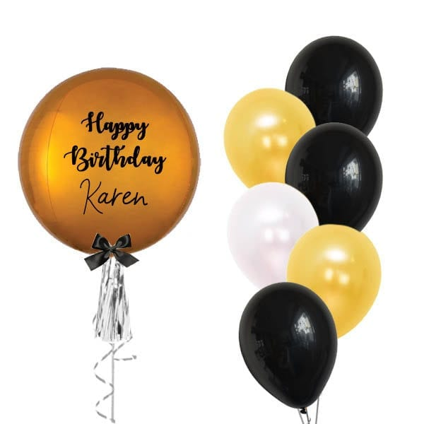 Personalized Orbz Gold with side balloon bouquet