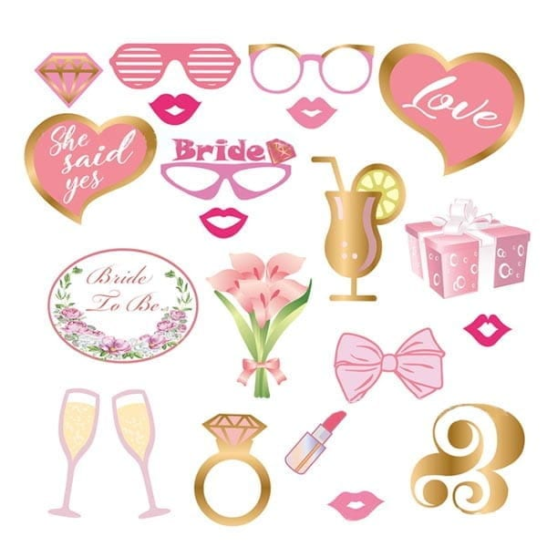 Bride to Be Photobooth Props 20 Pcs set