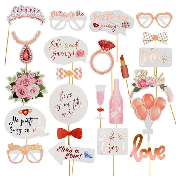 Wedding Just Married Photobooth Props 23 Pcs set