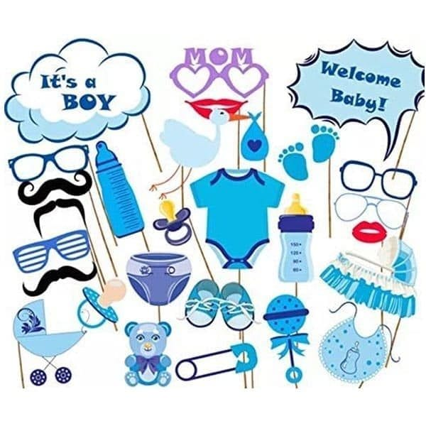 Welcome Baby Boy Photobooth Props 27 Pcs set