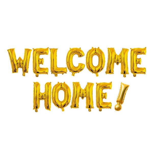16 inch welcome home gold letter balloon