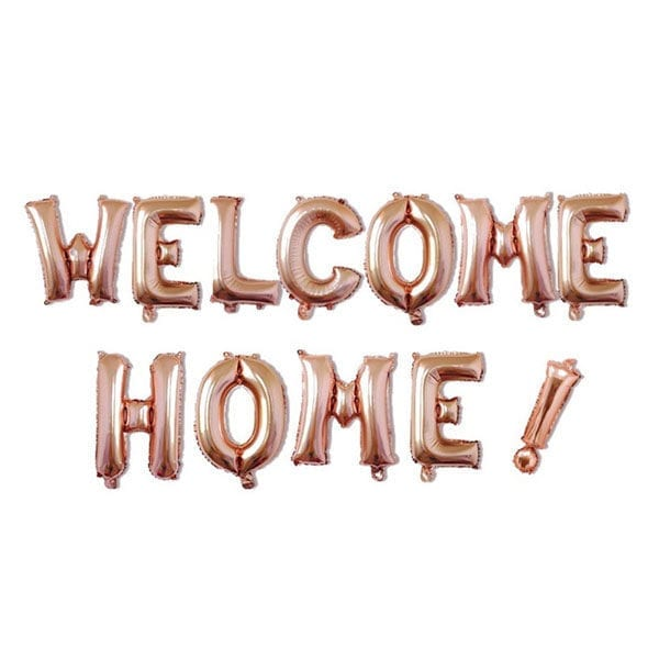16 inch welcome home rose gold letter balloon