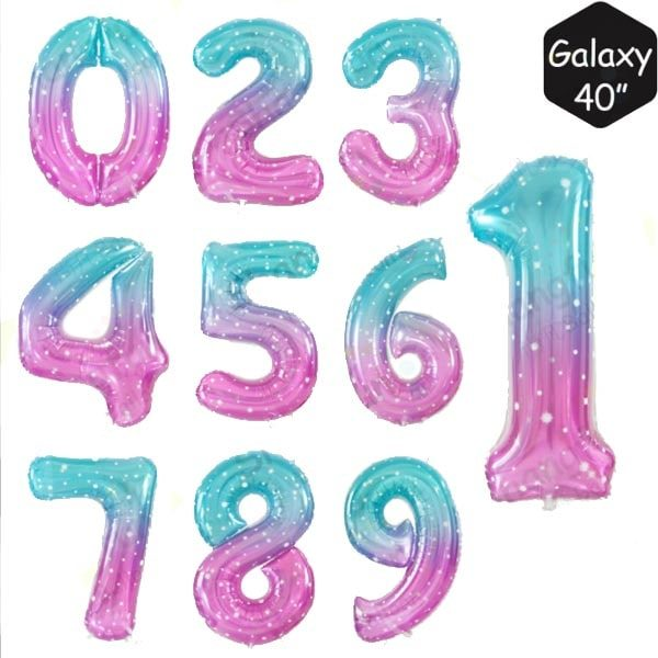 40 INCH JUMBO GALAXY NUMBER FOIL BALLOON letters