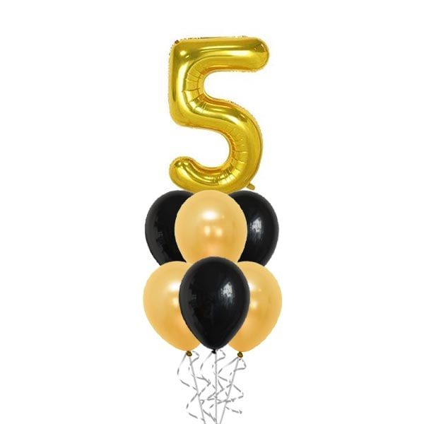 40 Inch Gold Digit With Balloon Bouquet