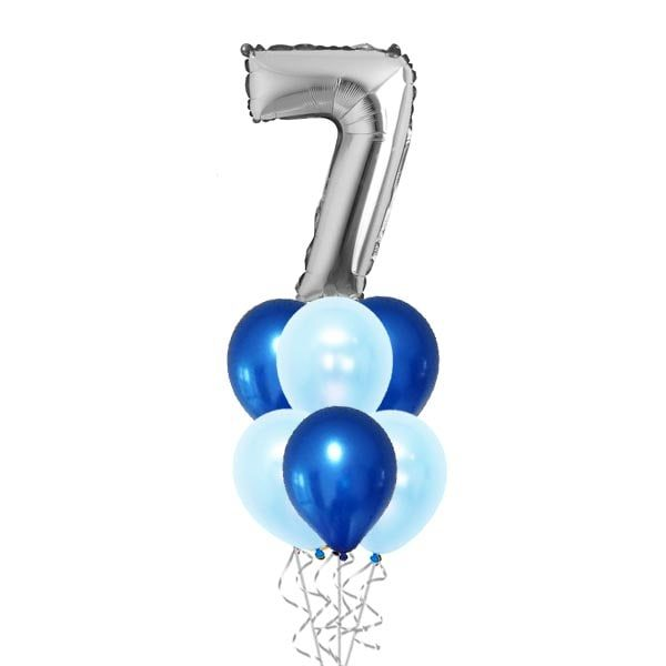 40 Inch Silver Digit With Balloon Bouquet