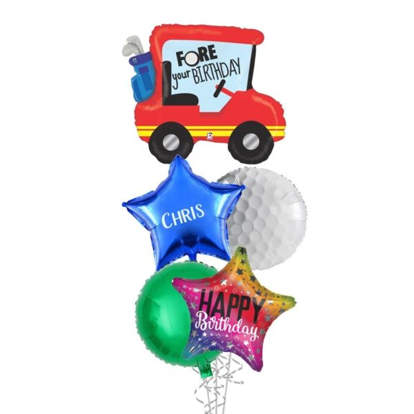 Fore Your Birthday Golf Cart Balloon Bouquet