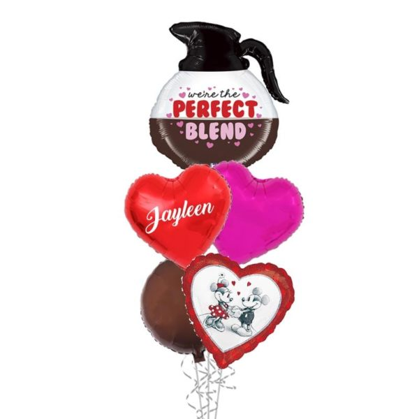 The perfect blend love coffee balloon bouquet