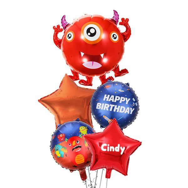 3 Eyed Red Space Monster Balloon Bouquet