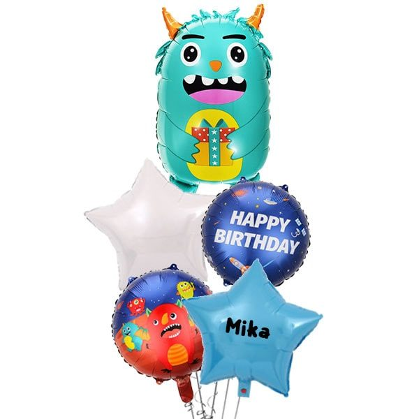 Friendly Teal Space Monster Balloon Bouquet