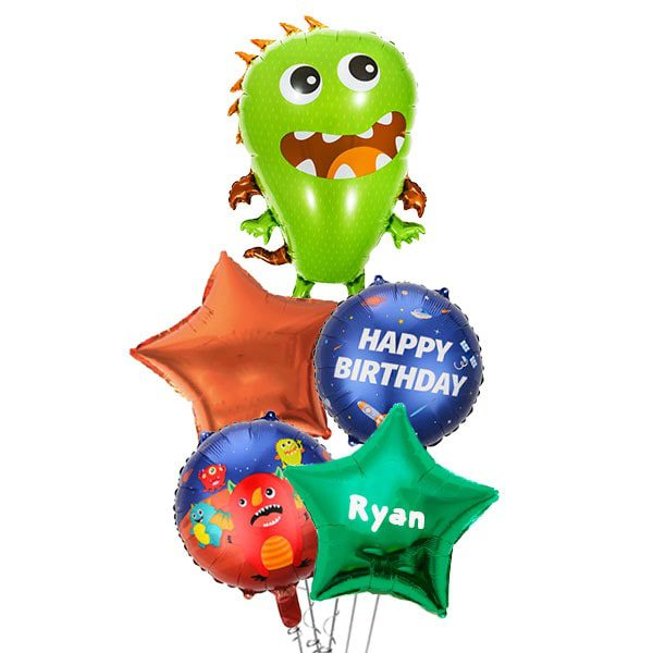 Happy Green Space Monster Balloon Bouquet